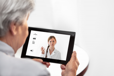 telehealth with a therapist and a senior